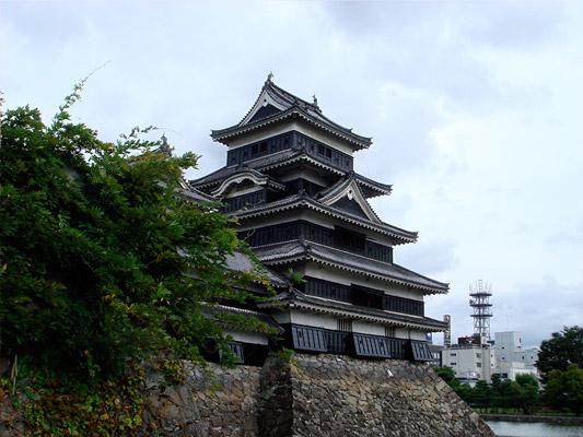 「埋の橋」の上から撮影した松本城の天守