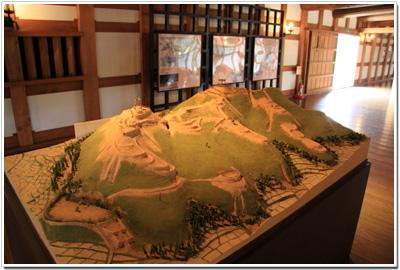 平櫓に展示されている「鳥籠山城」のジオラマ