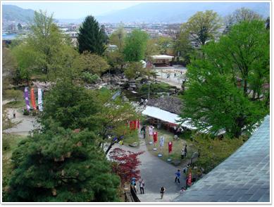 高島城天守閣から見た二の丸公園