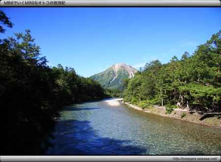 夏の河童橋から見る焼岳