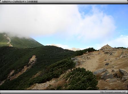 丸山頂上から西穂独標方面