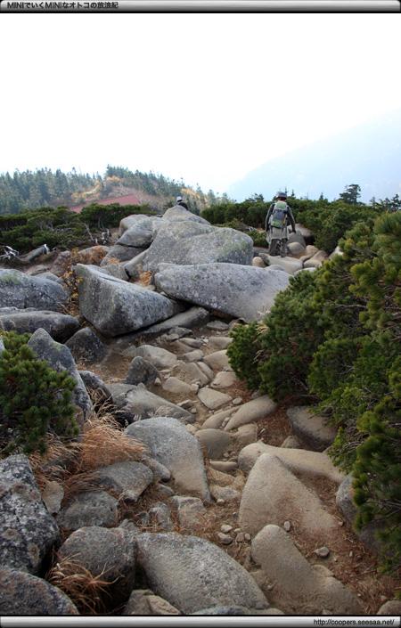 丸山から西穂山荘への下山道